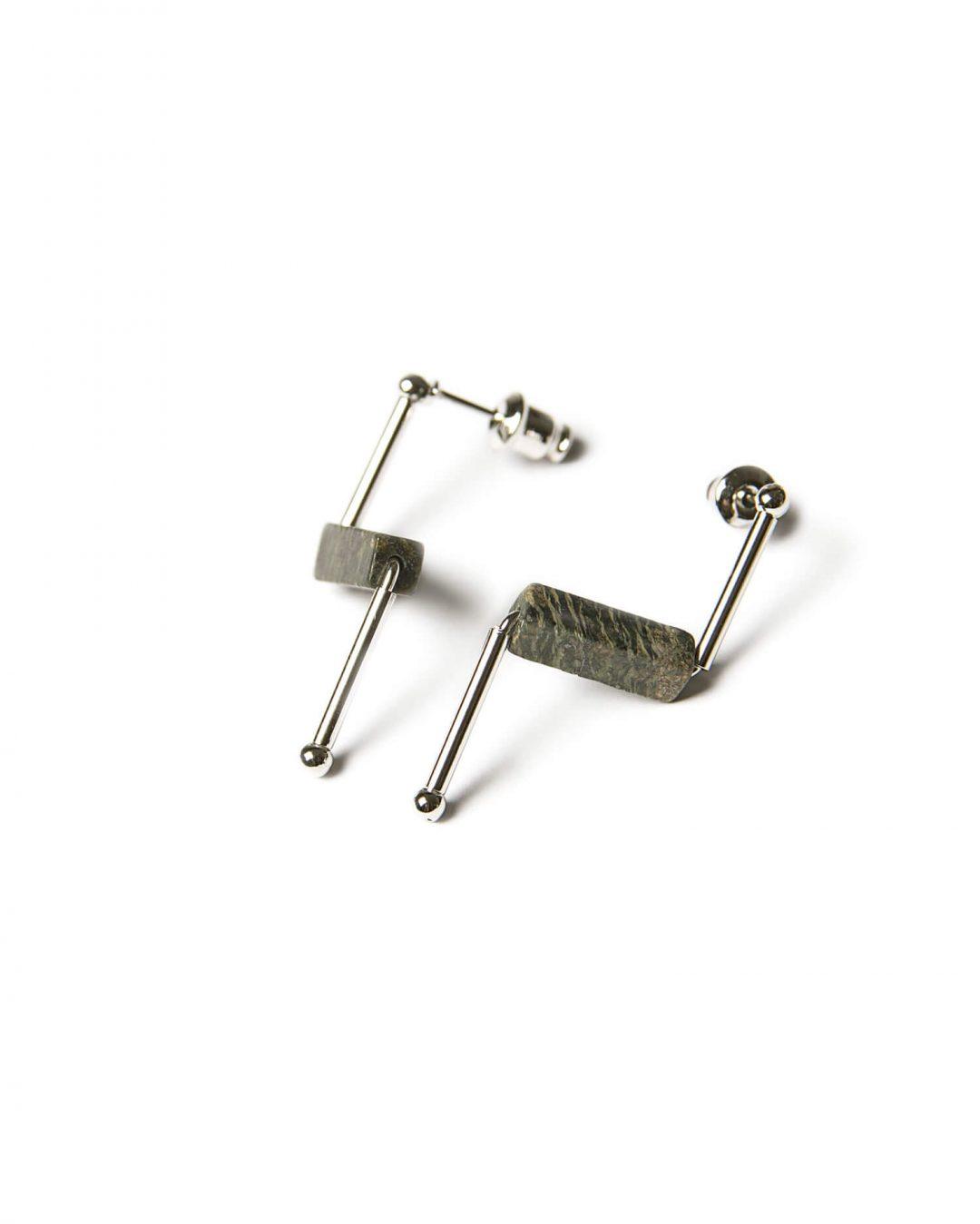 Zebra stone earrings - silver